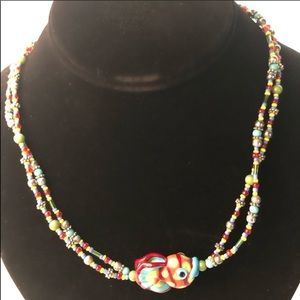 Glass bead/Swarovski cryst necklace-multi/fish NWT